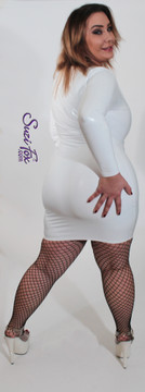 Scoop Neck, Front separating zipper Mini Dress shown in Gloss White Vinyl/PVC Spandex, custom made by Suzi Fox. Easy off!  • Choose any fabric on this site, including vinyl/PVC, metallic foil, metallic mystique, wetlook lycra Spandex, Milliskin Tricot Spandex. The vinyl/PVC is a latex alternative, great for people allergic to latex! • Zipper choice • Custom sizing available. • Plus size available. • Optional wrist zippers available. • Worldwide shipping. • Made in the U.S.A.