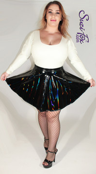 Circle/Skater Skirt shown in Gloss Holographic Black Vinyl/PVC Spandex, custom made by Suzi Fox. • Choose any fabric on this site, including vinyl/PVC, metallic foil, metallic mystique, wetlook lycra Spandex, Milliskin Tricot Spandex. The vinyl/PVC is a latex alternative, great for people allergic to latex! • Custom sizing available • Plus size available • Worldwide shipping. • Made in the U.S.A.