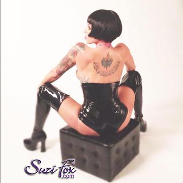 Underbust Cheeky Peeker Booty Shorts shown in Black Vinyl/PVC Spandex, custom made by Suzi Fox. Enhances the rear butt cheeks.