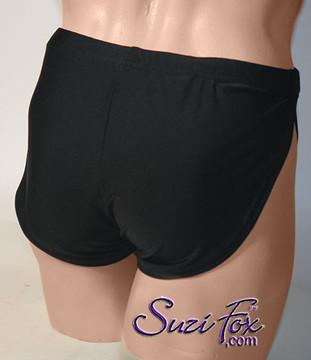 Mens split side running/coverup shorts in black milliskin tricot spandex by Suzi Fox