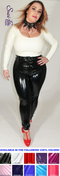 Waist high Jean style Leggings shown in Black Gloss Vinyl/PVC coated Nylon Spandex, by Suzi Fox. • Waistband with button. • Fly front with zipper. • Choose any fabric on this site, including vinyl/PVC, metallic foil, metallic mystique, wetlook lycra Spandex, Milliskin Tricot Spandex. The vinyl/PVC is a latex alternative, great for people allergic to latex! • Optional custom sizing. • Plus size available. • Optional rear patch pockets. • Optional belt loops. • Optional ankle zippers. • Worldwide shipping. • Made in the U.S.A.