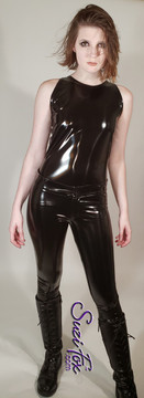 Hiphugger Jean style Leggings shown in Black Gloss Vinyl/PVC coated Nylon Spandex, by Suzi Fox. • Waistband with button. • Fly front with zipper. • Choose any fabric on this site, including vinyl/PVC, metallic foil, metallic mystique, wetlook lycra Spandex, Milliskin Tricot Spandex. The vinyl/PVC is a latex alternative, great for people allergic to latex! • Optional custom sizing. • Plus size available. • Optional rear patch pockets. • Optional belt loops. • Optional ankle zippers. • Worldwide shipping. • Made in the U.S.A.