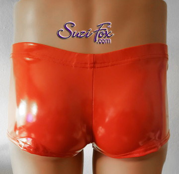Mens Boxcut Boy shorts shown in stretch red gloss vinyl/pvc coated spandex, custom made by Suzi Fox.