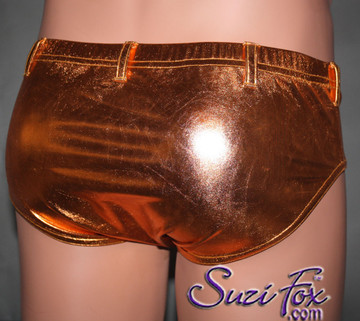 Men's Smooth Front, Brief Bikini, custom made by Suzi Fox shown in Copper metallic foil coated spandex shown with optional belt loops. Available in gold, silver, copper, royal blue, purple, turquoise, red, green, fuchsia, gunmetal, black rubber/leather look. 1 inch elastic at the waist. Optional belt loops and rear patch pockets available. Made in the U.S.A.