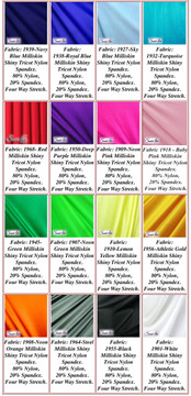 Milliskin Tricot Spandex Fabric. Available in black, white, red, royal blue, navy blue, sky blue, turquoise, purple, lilac, green, neon green, hunter green, fuchsia, baby pink, neon pink, neon orange, athletic gold, yellow, steel gray Miilliskin Tricot spandex. This is a 4-way extreme stretch fabric with a slight shine. Light, airy, thin, and very comfortable! Lighter colors might be slightly see through when wet.  Hand wash inside out in cold water, line dry. Iron inside out on low heat. Do not bleach.