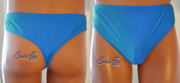 T-Back brief by Suzi Fox.  shown in Royal Blue Milliskin Tricot Spandex. 1 inch elastic at the waist, elastic in the legs. • Wear it as swimwear, or underwear! • Plus size available. • You can choose any fabric on this site, including vinyl/PVC, Metallic Foil, Metallic Mystique, Wetlook Lycra Spandex, Milliskin Tricot Spandex. The vinyl/PVC is a latex alternative, great for people allergic to latex! • Worldwide shipping. • Made in the U.S.A. We custom make every garment when you order it (including standard sizes).