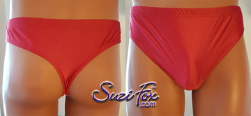 T-Back brief by Suzi Fox.  shown in Red Milliskin Tricot Spandex. 1 inch elastic at the waist, elastic in the legs. • Wear it as swimwear, or underwear! • Plus size available. • You can choose any fabric on this site, including vinyl/PVC, Metallic Foil, Metallic Mystique, Wetlook Lycra Spandex, Milliskin Tricot Spandex. The vinyl/PVC is a latex alternative, great for people allergic to latex! • Worldwide shipping. • Made in the U.S.A. We custom make every garment when you order it (including standard sizes).