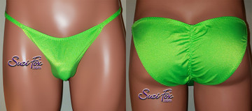 Mens Smooth Front, Skinny Strap, Rio Bikini - shown in Neon Green Milliskin Tricot Spandex, custom made by Suzi Fox. • Available in black, white, red, turquoise, navy blue, royal blue, neon pink, fuchsia, baby pink, athletic gold, neon green, green, hunter (dark) green, yellow, steel gray, neon orange or any fabric on this site. • Standard front height is 7 inches (17.78 cm). • Available in 4, 5, 6, 7, 8, 9, and 10 inch front heights. • Wear it as swimwear OR underwear! • Made in the U.S.A.