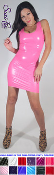 Tank Mini Dress in Shiny Gloss Light Pink Vinyl/PVC Spandex by Suzi Fox. Choose any fabric on this site! Available in black, white, red, navy blue, royal blue, turquoise, purple, fuchsia, neon pink, light pink, matte black (no shine), matte white (no shine) stretch vinyl/PVC coated nylon spandex. Made in the U.S.A.
