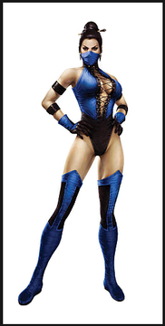 Kitana (Mortal Kombat) Costume (classic), custom made by Suzi Fox.  Costume includes Racerback leotard with front grommet lacing, stockings, 2 arm bands, bird finger gloves, mask.  • Although we recommend royal blue wetlook or royal blue vinyl, you can choose any fabric on this site, including vinyl/PVC, Metallic Foil, Metallic Mystique, Wetlook Lycra Spandex, Milliskin Tricot Spandex. The vinyl/PVC is a latex alternative, great for people allergic to latex! • Optional Custom Sizing. • Plus size available. • Your choice of rears - French legs (Rio) (shown), Full, or Cheeky. • Worldwide shipping. • Made in the U.S.A.