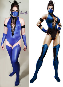 Kitana (Mortal Kombat) Costume (classic), custom made by Suzi Fox.  Costume includes Racerback leotard with front grommet lacing, stockings, 2 arm bands, bird finger gloves, mask.  • Although we recommend royal blue wetlook (medium shine, very stretchy) or royal blue vinyl (high gloss vinyl on a spandex backing, very tight), you can choose any fabric on this site, including vinyl/PVC, Metallic Foil, Metallic Mystique, Wetlook Lycra Spandex, Milliskin Tricot Spandex. The vinyl/PVC is a latex alternative, great for people allergic to latex! • Optional Custom Sizing. • Plus size available. • Your choice of rears - French legs (Rio) (shown), Full, or Cheeky. • Worldwide shipping. • Made in the U.S.A.
