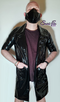 Mens Custom Lab Coat  in Gloss Black Vinyl/PVC Spandex, custom made by Suzi Fox. Custom made to your measurements! • Choose any fabric on this site, including vinyl/PVC, metallic foil, metallic mystique, wetlook lycra Spandex, Milliskin Tricot Spandex. The vinyl/PVC is a latex alternative, great for people allergic to latex! • Open front (no closure) • Plus size available. • Optional wrist zippers. • Worldwide shipping. • Made in the U.S.A.