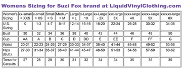 Size chart for standard sizing.