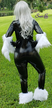 Black Cat costume preview, work in progress. Back view. Shown with optional stockings and gloves, fur is not attached to the catsuit at this point.
