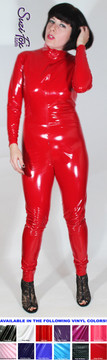 """Custom Catsuit by Suzi Fox shown in Red Gloss Vinyl coated Nylon Spandex. Shown with invisible crotch zipper. You can order this Catsuit in almost any fabric on this site.  • Available in black, red, white, light pink, neon pink, fuchsia, purple, royal blue, navy blue, turquoise, black matte (no shine), white matte (no shine) stretch vinyl coated spandex. • Optional 1 or 2-slider crotch zipper, and """"Selene"""" from Underworld TS Brass zipper. • Optional wrist zippers • Optional ankle zippers • Optional finger loops • Made in the U.S.A."""