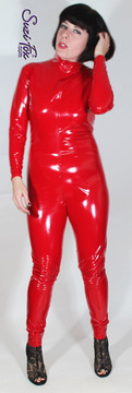 "Custom Catsuit by Suzi Fox shown in Red Gloss Vinyl coated Nylon Spandex.  You can order this Catsuit in almost any fabric on this site.  • Available in black, red, white, light pink, neon pink, fuchsia, purple, royal blue, navy blue, turquoise, black matte (no shine), white matte (no shine) stretch vinyl coated spandex. • Optional 1 or 2-slider crotch zipper, and ""Selene"" from Underworld TS Brass zipper. • Optional wrist zippers • Optional ankle zippers • Optional finger loops • Made in the U.S.A."