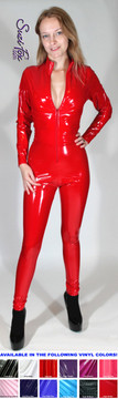 "Custom Catsuit by Suzi Fox shown in Red Gloss Vinyl coated Nylon Spandex.  You can order this Catsuit in almost any fabric on this site.  • Available in black, red, white, light pink, neon pink, fuchsia, purple, royal blue, navy blue, turquoise, black matte (no shine), white matte (no shine) stretch vinyl coated spandex. • Your choice of front or back zipper (front zipper shown). • Optional 1 or 2-slider crotch zipper, and ""Selene"" from Underworld TS Brass zipper, or aluminum circular slider zipper like Catwoman comic characters. • Optional wrist zippers • Optional ankle zippers • Optional finger loops • Made in the U.S.A."
