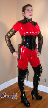 "Custom Catsuit by Suzi Fox shown in Red Gloss Vinyl coated Nylon Spandex.  You can order this Catsuit in almost any fabric on this site.  Great for a Mord Sith costume! • Available in black, red, white, light pink, neon pink, fuchsia, purple, royal blue, navy blue, turquoise, black matte (no shine), white matte (no shine) stretch vinyl coated spandex. • Your choice of front or back zipper (front zipper shown). • Optional 1 or 2-slider crotch zipper, and ""Selene"" from Underworld TS Brass zipper, or aluminum circular slider zipper like Catwoman comic characters. • Optional wrist zippers • Optional ankle zippers • Optional finger loops • Made in the U.S.A."