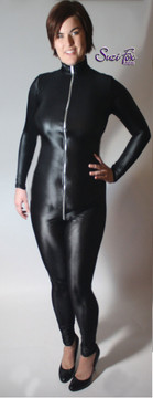 """Custom Catsuit by Suzi Fox shown in Black Wet Look Lycra Spandex. Shown with 2-slider crotch zipper. You can order this Catsuit in almost any fabric on this site.  • Available in black, red, white, turquoise, navy blue, hot pink, lime green, green, yellow, royal blue, steel gray, neon orange. This is a 4-way stretch fabric with a medium shine. • Your choice of front or back zipper (front zipper shown). • Optional 1 or 2-slider crotch zipper, and """"Selene"""" from Underworld TS Brass zipper, or aluminum circular slider zipper like Catwoman comic characters. • Optional wrist zippers • Optional ankle zippers • Optional finger loops • Optional rear patch pockets • Made in the U.S.A."""