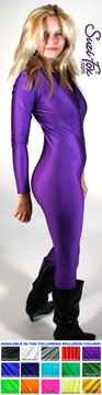 "Custom Catsuit by Suzi Fox shown in Purple Milliskin Tricot Spandex.  You can order this Catsuit in almost any fabric on this site.  • Available in black, red, white, navy blue, royal blue, sky blue, turquoise, hunter green, green, neon green, neon pink, neon orange, athletic gold, lemon yellow, steel gray, purple. This is a light, thin, airy, 4-way stretch fabric with very little shine. • Your choice of front or back zipper (front zipper shown). • Optional 1 or 2-slider crotch zipper, and ""Selene"" from Underworld TS Brass zipper, or aluminum circular slider zipper like Catwoman comic characters. • Optional wrist zippers • Optional ankle zippers • Optional finger loops • Optional rear patch pockets • Made in the U.S.A."