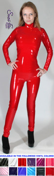 """Womens Custom Smooth Front (Back Zipper) Catsuit by Suzi Fox shown in Gloss Red Vinyl/PVC coated Nylon Spandex. Made popular by Britney Spears in her """"Oops, I did it again"""" video. • Choose any fabric on this site, including vinyl/PVC, metallic foil, metallic mystique, wetlook lycra Spandex, Milliskin Tricot Spandex.  • Optional Custom Sizing. • Plus size available. • Optional """"Selene"""" from Underworld TS zipper.  • Optional wrist zippers. • Optional ankle zippers. • Made in the U.S.A."""