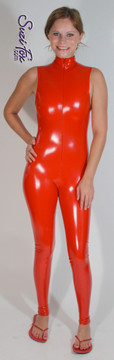 """Custom Sleeveless Catsuit by Suzi Fox shown in Gloss Red Vinyl/PVC Spandex.  • Choose any fabric on this site, including vinyl/PVC, metallic foil, metallic mystique, wetlook lycra Spandex, Milliskin Tricot Spandex. • Optional Custom Sizing. • Plus size available. • Optional 1 or 2-slider crotch zipper. • Optional """"Selene"""" from Underworld TS zipper. • Optional ankle zippers. • Worldwide shipping. • Made in the U.S.A."""