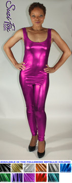 Custom Tank Style Catsuit by Suzi Fox shown in Fuchsia Metallic Foil coated spandex.  You can order this Catsuit in almost any fabric on this site.  • Available in bold, silver, copper, royal blue, purple, turquoise, red, green, fuchsia, gunmetal, black faux leather/rubber look. This is a stretch metallic foil, 4-way stretch fabric with a brilliant shine. • Optional ankle zippers • Made in the U.S.A.