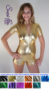 "Custom Romper Catsuit by Suzi Fox shown in Gold metallic foil coated Nylon Spandex.  You can order this Romper in almost any fabric on this site.  • Available in gold, silver, copper, royal blue, purple, turquoise, red, green, fuchsia, gun metal, black faux leather/rubber Metallic foil coated spandex. • Standard sleeve length: 6 inches (15.2 cm) • Standard inseam: 2 inches (5.1 cm) • Your choice of front or back zipper (front zipper shown). • Optional 1 or 2-slider crotch zipper, and ""Selene"" from Underworld TS Brass zipper, or aluminum circular slider zipper like Catwoman comic characters. • Optional wrist zippers. • Optional rear patch pockets. • Made in the U.S.A."