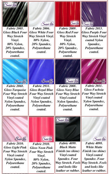 """Gloss, Matte (no shine), and 3D Prism Vinyl/PVC.  Four Way Stretch. 80% Nylon, 20% Spandex.  Polyurethane coated. This fabric is very tight, 4-way stretch with about a 2"""" stretch. It will hide minor cellulite and hold in small love handles. Vinyl will separate from backing if worn too tight or if rubbed excessively. If you like PVC, you will LOVE this fabric! It's also a great alternative to latex.   Available in black, white, red, navy blue, royal blue, turquoise, purple, Neon Pink, fuchsia, light pink, matte black (no shine), matte white (no shine) Vinyl/PVC.  Hand wash inside out in cold water, line dry. Do not scrub. Iron inside out on low heat. Do not bleach."""