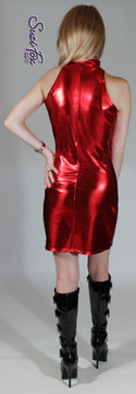 Open/cold Shoulder Mini Dress in Red Metallic Foil Spandex by Suzi Fox. Zipper in the back. Choose any fabric on this site! Available in gold, silver, copper, gunmetal, turquoise, Royal blue, red, green, purple, fuchsia, black faux leather/rubber metallic foil coated nylon spandex. Made in the U.S.A.