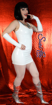 Tank Mini Dress in Shiny Gloss White Vinyl/PVC Spandex by Suzi Fox. Choose any fabric on this site! Available in black, white, red, navy blue, royal blue, turquoise, purple, fuchsia, neon pink, light pink, matte black (no shine), matte white (no shine) stretch vinyl/PVC coated nylon spandex. Made in the U.S.A.