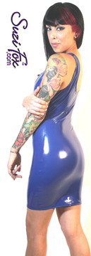 Tank Mini Dress in Shiny Gloss Royal Blue Vinyl/PVC Spandex by Suzi Fox. Choose any fabric on this site! Available in black, white, red, navy blue, royal blue, turquoise, purple, fuchsia, neon pink, light pink, matte black (no shine), matte white (no shine) stretch vinyl/PVC coated nylon spandex. Made in the U.S.A.
