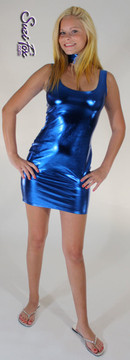 Tank Mini Dress in Royal Blue Metallic Foil coated Spandex by Suzi Fox. Choose any fabric on this site! Available in black metallic faux leather/rubber, gold, silver, copper, royal blue, purple, turquoise, red, green, fuchsia, gun metal metallic foil coated nylon spandex. • Optional 2-slider zipper going the length of the dress, front or back, unzip from the top of the bottom! Made in the U.S.A.