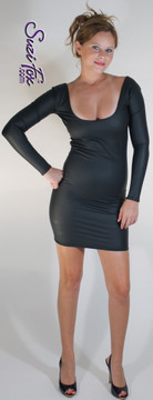 Scoop Neck, Long Sleeved Mini Dress in Black Matte (no shine) Vinyl/PVC Spandex, custom made by Suzi Fox. Choose any fabric on this site! Available in matte black (no shine), matte white (no shine); gloss black, white, red, navy blue, royal blue, turquoise, purple, fuchsia, neon pink, light pink, stretch vinyl/PVC coated nylon spandex. • Optional wrist zippers. Made in the U.S.A.