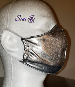 Matching silver metallic personal protection mask. Includes 100% cotton lining, elastic ear loops, nose wire for adjusting.