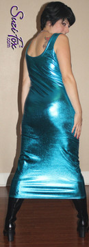 Tank Maxi Dress in Turquoise Metallic Foil coated Spandex by Suzi Fox. Choose any fabric on this site! Custom made to your measurements. Available in black metallic faux leather/rubber, gold, silver, copper, royal blue, purple, turquoise, red, green, fuchsia, gun metal metallic foil coated nylon spandex. Made in the U.S.A.