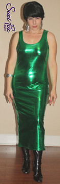 Tank Maxi Dress in Green Metallic Foil coated Spandex by Suzi Fox. Choose any fabric on this site! Custom made to your measurements. Available in black metallic faux leather/rubber, gold, silver, copper, royal blue, purple, turquoise, red, green, fuchsia, gun metal metallic foil coated nylon spandex. Made in the U.S.A.