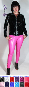 Womens Leggings shown in Neon Pink Gloss vinyl/PVC, custom made by Suzi Fox.  You can order this in almost any fabric on this site.  • Custom made to your measurements! • Available in black, red, white, light pink, neon pink, fuchsia, purple, royal blue, navy blue, turquoise, black matte (no shine), white matte (no shine) stretch vinyl coated spandex. • 1 inch elastic at the waist. • Optional 1 or 2-slider crotch zipper. • Optional ankle zippers • Optional rear patch pockets • Optional belt loops • Made in the U.S.A.