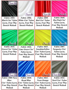 "Wet Look Lycra Spandex (Cire') Fabrics. Wet Look (Cire') nylon/lycra.  85% Nylon. 15% Lycra. This is a four way stretch fabric. Wet look lycra fabrics have undergone a heat treatment to give them a ""Cire'"" medium shine finish. Wet look lycra is a very stretchy fabric, it hugs the body but is extremely comfortable, and dries quickly. Available in black, white, red, turquoise, navy blue, royal blue, hot pink, lime green, green, yellow, steel gray, neon orange. Hand wash inside out in cold water, line dry. Iron inside out on low heat. Do not bleach."