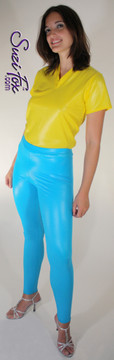 Womens Leggings shown in Turquoise Wet Look Lycra Spandex, custom made by Suzi Fox.  Waist high shown. You can order this in almost any fabric on this site.  • Custom made to your measurements! • Available in black white, red, navy blue, royal blue, turquoise, hot pink, lime green, green, yellow, neon orange, steel gray. lycra spandex. This is a 4-way stretch fabric with a medium shine. Very comfortable! • 1 inch elastic at the waist. • Optional 1 or 2-slider crotch zipper. • Optional ankle zippers • Optional rear patch pockets • Optional belt loops • Made in the U.S.A.