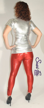 Womens Leggings shown in Red Metallic Mystique, custom made by Suzi Fox. You can order this in almost any fabric on this site.  • Custom made to your measurements! • Available in black, red, turquoise, green, purple, royal blue, hot pink/fuchsia, silver, copper, gold Metallic Mystique spandex. This is a 4-way stretch fabric with tiny metallic foil dots bonded to the spandex. Light, thin, airy, very comfortable! • 1 inch elastic at the waist. • Optional 1 or 2-slider crotch zipper. • Optional ankle zippers • Optional rear patch pockets • Optional belt loops • Made in the U.S.A.
