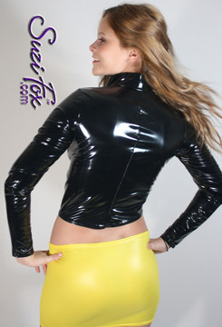 Womens Jacket in Black Gloss Vinyl/PVC Spandex, custom made by Suzi Fox. Custom made to your measurements! • Choose any fabric on this site. • Available in black, white, red, navy blue, royal blue, turquoise, purple, fuchsia, neon pink, light pink, matte black (no shine), matte white (no shine) stretch vinyl/PVC coated nylon spandex. • Your choice of zippers. • Optional wrist zippers. Made in the U.S.A.
