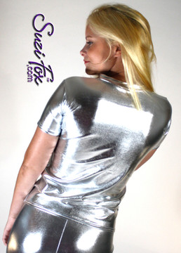 Womens T-Shirt in Silver Metallic Foil coated Spandex, custom made by Suzi Fox. Custom made to your measurements! Choose any fabric on this site! Available in gold, silver, copper, gunmetal, turquoise, Royal blue, red, green, purple, fuchsia, black faux leather/rubber. • Optional wrist zippers if you choose long sleeves. Made in the U.S.A.