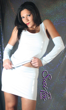 Fingerless Gloves/Armguards shown in White Gloss Vinyl/PVC by Suzi Fox. Give us your bicep and wrist measurements for a perfect fit! Available in black, white, red, navy blue, royal blue, turquoise, purple, Neon Pink, fuchsia, light pink, matte black (no shine), matte white (no shine), black 3D Prism, red 3D Prism, Turquoise 3D Prism, Baby Blue 3D Prism, Hot Pink 3D Prism or any fabric on this site. Made in the U.S.A.