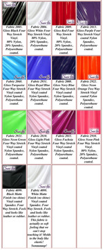 "Gloss Vinyl/PVC.  Four Way Stretch. 80% Nylon, 20% Spandex.  Polyurethane coated. Very glossy! This fabric is very tight, 4-way stretch with about a 2"" stretch. It will hide minor cellulite and hold in small love handles. Vinyl will separate from backing if worn too tight or if rubbed excessively. If you like PVC, you will LOVE this fabric! It's also a great alternative to latex.   Available in black, white, red, navy blue, royal blue, turquoise, purple, Neon Pink, fuchsia, light pink, matte black (no shine), matte white (no shine), black 3D Prism, red 3D Prism, Turquoise 3D Prism, Baby Blue 3D Prism, Hot Pink 3D Prism.  Hand wash inside out in cold water, line dry. Iron inside out on low heat. Do not bleach."