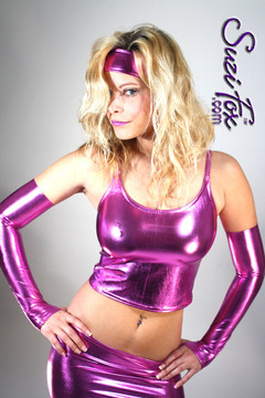 Camisole Top with Spaghetti Straps in Fuchsia Metallic Foil coated Spandex, custom made by Suzi Fox. Custom made to your measurements! Choose any fabric on this site! Available in gold, silver, copper, gunmetal, turquoise, Royal blue, red, green, purple, fuchsia, black faux leather/rubber. Made in the U.S.A.