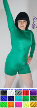 """Womens Romper shown in Green Shiny Milliskin Tricot spandex, custom made by Suzi Fox.  You can order this Romper in almost any fabric on this site.  • Available in black, white, red, royal blue, sky blue, turquoise, purple, green, neon green, hunter green, neon pink, neon orange, athletic gold, lemon yellow, steel gray Miilliskin Tricot spandex. • Standard inseam: 2 inches (5.1 cm) • Optional """"Selene"""" from Underworld TS Brass zipper. • Optional wrist zippers. • Made in the U.S.A."""