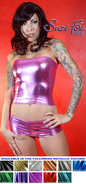 Cheeky Peeker Booty Shorts shown in Fuchsia Metallic Foil coated Spandex, custom made by Suzi Fox. Custom made to your measurements! Available in gold, silver, copper, gunmetal, turquoise, Royal blue, red, green, purple, fuchsia, black faux leather/rubber, and any other fabric on this site. Made in the U.S.A.