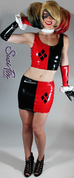 Harley Quinn Tank Top shown in Black & Red Vinyl/PVC Spandex, custom made by Suzi Fox. Custom made to your measurements! • 4 Diamonds on the red side. • Shown with optional mini skirt, gloves, & arm guards. Available in black, white, red, navy blue, royal blue, turquoise, purple, Neon Pink, fuchsia, light pink, matte black (no shine), matte white (no shine), black 3D Prism, red 3D Prism, Turquoise 3D Prism, Baby Blue 3D Prism, Hot Pink 3D Prism, and any other fabric on this site. Made in the U.S.A.