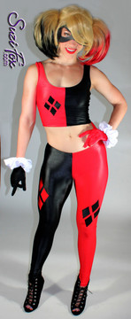 Harley Quinn Tank Top shown in Black & Red Wetlook Lycra Spandex, custom made by Suzi Fox. Custom made to your measurements! • 4 Diamonds on the red side. • Shown with optional leggings & gloves. • Available in any fabric on this site. Made in the U.S.A.